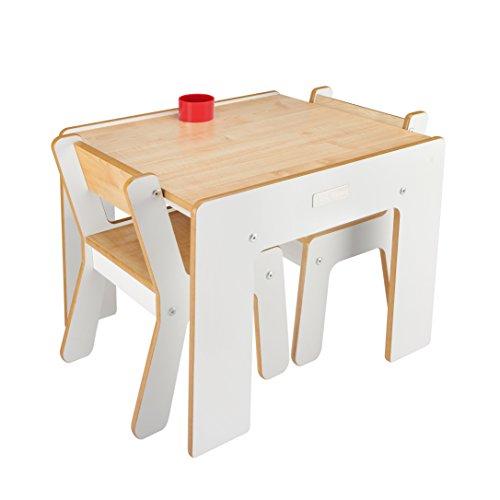 Little Helper FSD02-3 Tavolino con Portamatite e 2 Sedie per Bambini, Bianco