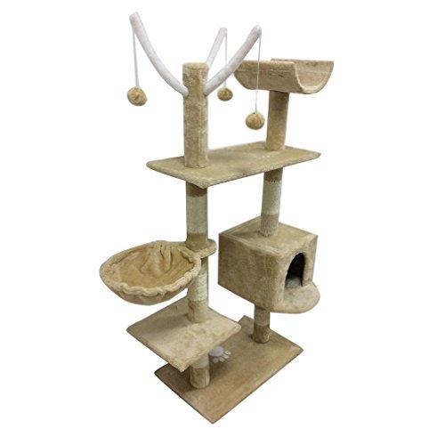 MathRose Árbol para Gatos, Árbol Rascador Gatos con Nidos, 135cm Rascador para Gatos, Rascador con Hamaca, Cueva, Plataformas y Bolas de Juego(Beige)