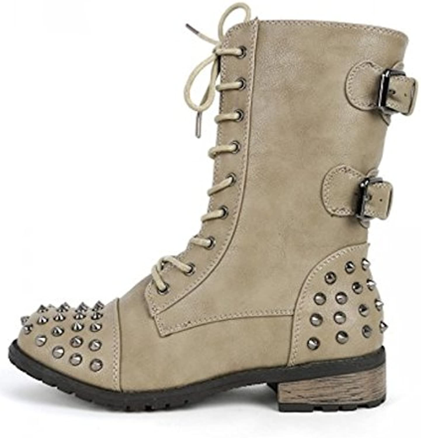 La Bella Fashion Women's Faux Leather Mid Calf Studded Buckle Boots in Black, Brown, Taupe, Stone