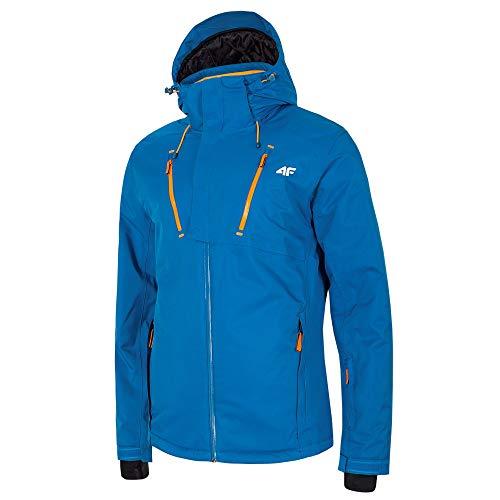 4F Heren Ski Winter Bergtouren klittenband wander jas blauw marine neon-oranje