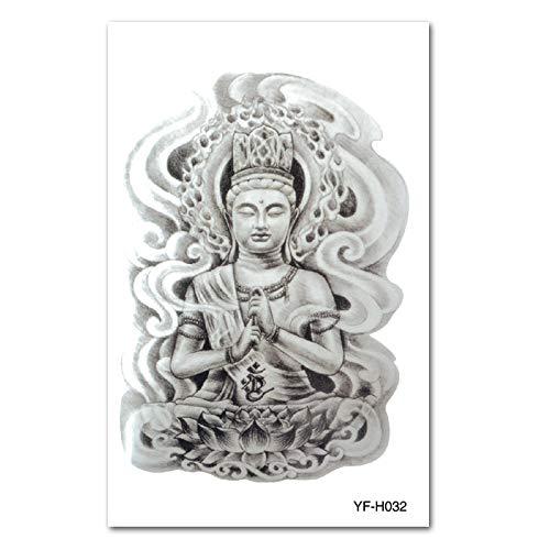 9 piezas impermeable tatuaje pegatina flor brazo tatuaje pegatinas impermeable cabeza calamar Guan Gong belleza tatuaje pegatinas
