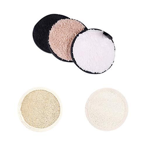 PIXNOR 5 Pcs Luffa Éponge Pad Puff Puff Feuilles De Maquillage Réutilisables Tampons De Suppression Cosmétique Facial Bambou Charbon De Bois Puff Visage Tampons De Nettoyage