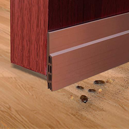 Door Sweep Door Draft Stopper Door Bottom Seal Strip Under Door Stopper Draft Guard Blocker for Home, Exterior, Storm, Interior Door Threshold Soundproof (2 Pack, Brown)