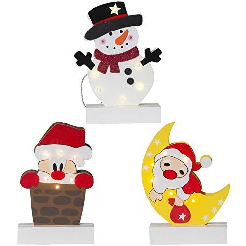 netproshop LED Batterie Holz Fensterleuchter Weihnachtsmann oder Schneemann, Auswahl:Weihnachtsmann Schornstein
