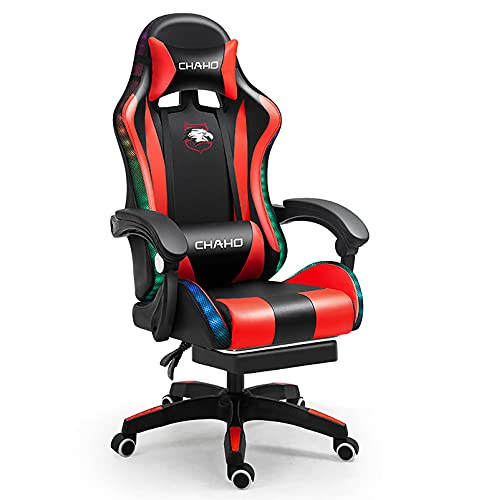 RUBAPOSM Massagesessel, Bürostuhl, hohe Rückenlehne, ergonomisch, verstellbar, Gamer Stuhl, ausgestattet mit LED-Lichtern, um das Spielerlebnis zu erhöhen.