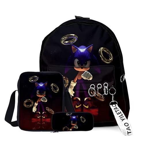Amacigana Sonic - Mochila escolar para hombre y niño, bolso de hombro, estuche para lápices, mochila escolar, mochila escolar, set de 3 piezas (Sonic 5,L)
