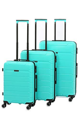 Glüückskind 3 teiliges Kofferset Trolley Koffer Set in 4 Farben aus Polypropylen (Grün)