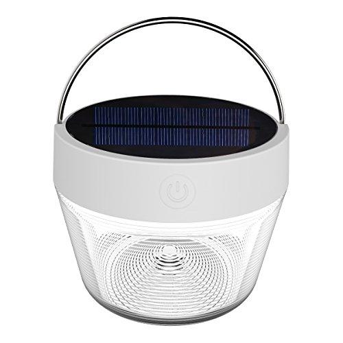 Lighting Ever LED Solar Campinglampe, USB Wiederaufladbare Suchscheinwerfer mit 2200mAh Akku, Dimmbar 2 Lichtmodi, Tragbare Notfallleuchte mit Halter