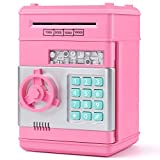 KMiKE Electronic Piggy Bank for Kids Cash Coin Cartoon ATM Money Saver Coin Bank for Kids with Password Great Gift Toy for Kids Children (Pink)