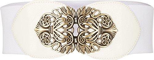 BlackButterfly 3 Zoll Breit Korsett Elastische Vintage Taillengürtel (Weiß, XL)