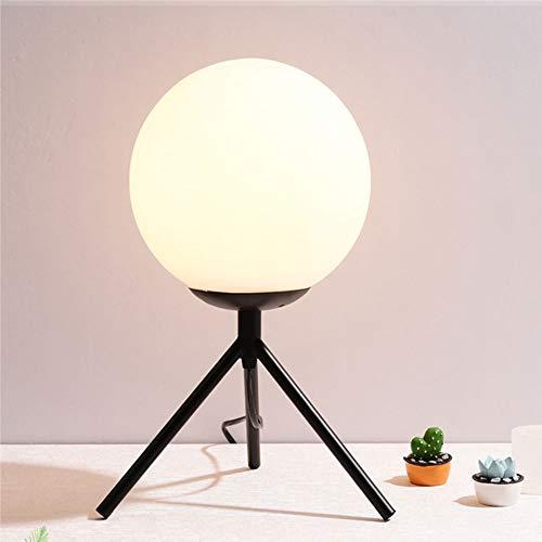 Nordic creative-zwart/goud smeedijzeren tripod LED tafellamp, moderne ronde glazen bol decoratieve leeslamp woonkamer study slaapkamer bedlampje