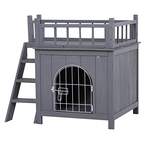 Price comparison product image PawHut 2-Level Elevated Waterproof Outdoor Wooden Treehouse Cat Shelter with Balcony,  Grey