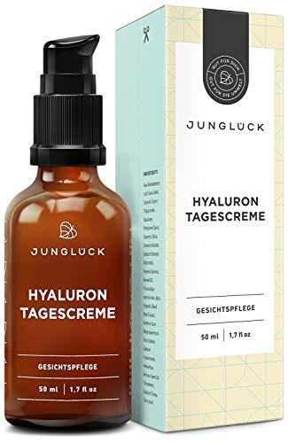 BIO Hyaluron Creme vegan I Natürliche Inhaltsstoffe | 50 ml Feuchtigkeitscreme für Gesicht & Haut I Junglück Hyaluron Tagescreme I Made in Germany