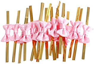 Funcoo 100 pcs Lovely Cute Bow Twist Tie for Bakery Candy Lollipop Cello Bag (Pink)