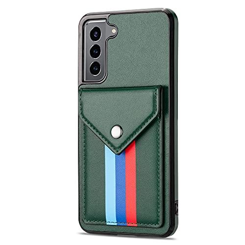 Galaxy S21+ Funda de piel para Samsung S21 Plus 5G 6.7 pulgadas Funda de parachoques cartera, soporte a prueba de golpes, color verde