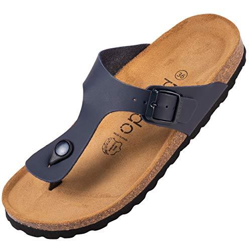 Palado® Damen Zehentrenner Kos | Made in EU | Sandalen in 16 Farben | Pantoletten mit Natur Kork-Fussbett und angenehm weichem Fußbett | Sohle aus feinem Velourleder Blau Matt 43 EU