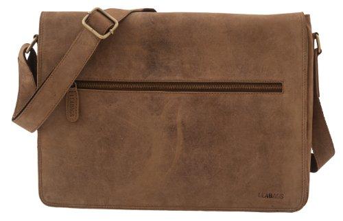 LEABAGS großer Messenger Bag/Umhängetasche/Schultertasche/Unitasche aus echtem Büffelleder - Unisex - Vintage -Frankfurt- Brown