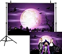 HD 7x5ftハッピーハロウィン背景夜紫空と月ジャックOランタンカボチャランタン怖い墓地写真背景子供パーティーの装飾ケーキテーブルバナー写真スタジオブース