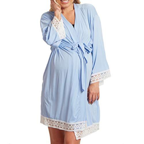Yying Mutterschaft Nachtwäsche Lace Stitching Pyjamas Kleider für Schwangere Elegante Pflege Nachthemden Schwangerschaft Kleidung Hellblau S