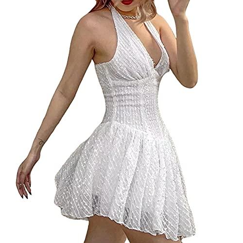 Vestido sexy con cuello en V, sin espalda, estilo delgado, para colgar en el cuello, sin mangas, falda corta para ir de compras, blanco, S