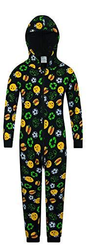 The PyjamaFactory, Schlafanzug Fußball- und Lebensmmittel-Emojis, Einteiler Gr. 11-12 Jahre, Schwarz