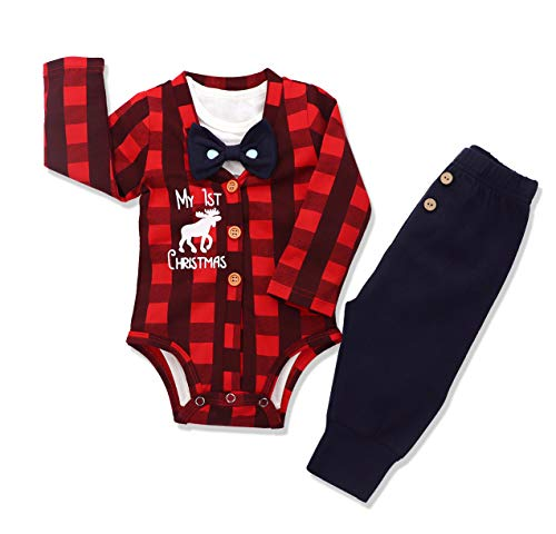 Baby Boys Christmas Outfit My 1st Christmas Romper Long Bodysuit Pants 3PCS Clothing Set 3-6 Months Red