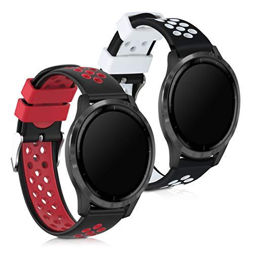 kwmobile silikon klockarmband kompatibel med Garmin Vivoactive 4-2 x fitness spårare reserv band armband set med lås
