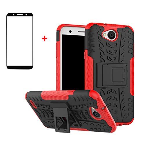 FullProtecter LG X Power2 Hülle,Bumper Cover Schutz Tasche Handyhülle Schutzhülle Silikon TPU+PC Hardcase für LG X Power2(Rot)+2 Stück Panzerglas Schutzfolie