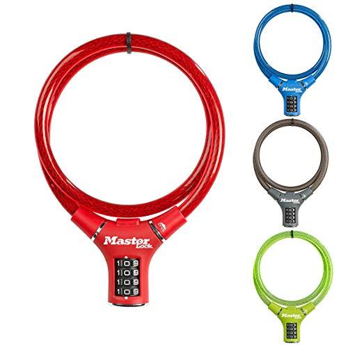 MASTER LOCK Candado Bicicleta [90 cm Cable] [Combinación] [Exterior] [Varios Colores] - Ideal para Bicicleta, Monopatín, Paseante, Cortacésped y Otro Equipo