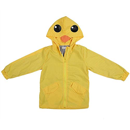 Chubasquero Chaqueta Impermeable para niños, Raincoat Chubasquero para Niños pato impermeable lindo de dibujos animados sudadera con capucha cremallera ligera ropa impermeable (90)