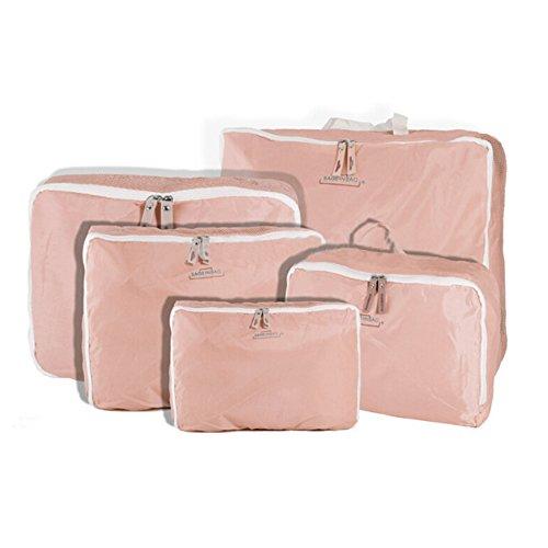 yhlve Cubes d'emballage Transparents et imperméables Idéal pour Ranger Vos valises, 5pcs/Set Pink, Small