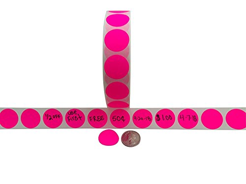 Color Coding Labels + Water Resistant Seals Super Bright Neon Pink Round Circle Dots for Organizing Inventory 1 Inch 500 Total Adhesive Stickers (Neon Pink)