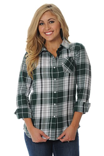 UG Apparel NCAA Michigan State Spartans Women's Boyfriend Plaid Shirt, X-Large, Green/Grey/White