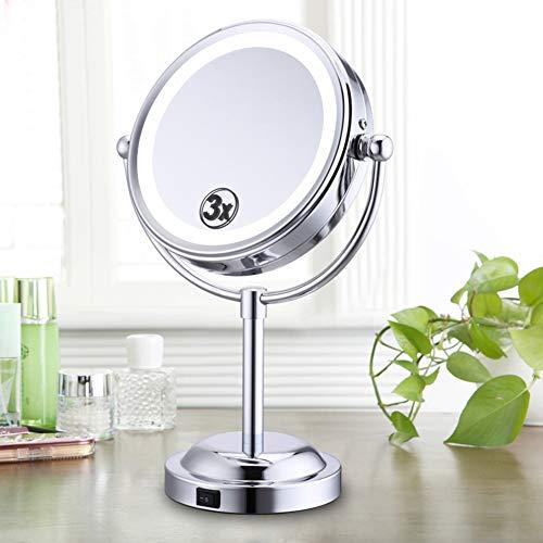 SXFYWYM Double Face Table Maquillage Miroir pivotant cosmétiques Miroir 3X grossissant Debout Portable,Silver,170x295mm