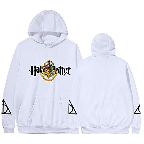 Harry Potter PulloverHoodie, Frühling und Herbst-Sweatshirt Gryffindor Ravenclaw Hufflepuff Slytherin Unisex Damen Herren Jungen Mädchen Mantel,Weiß,XXS
