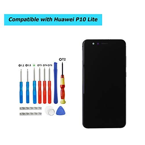 Upplus Vervanging LCD-scherm Compatibel met Huawei P10 Lite, was-LX1, WAS-LX1A, was-LX2, WAS-LX2J, was-LX3, WAS-L03T, Onderdelen Reparatie Display LCD Touch Screen met frame met toolkit (Zwart)
