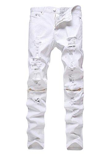 Men's Slim Fit Pencil Pants Vintage Zipper Denim Distressed Stretch Ripped Jeans (32, White-Gold Zip)