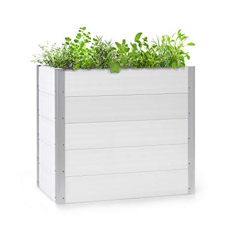 Preisvergleich Produktbild blumfeldt Nova Grow Gartenbeet, 100 x 91 x 50 cm (BxHxT), Material: WPC mit UV-,  Rost- und Frostschutz, Holzoptik, rückenschonende Höhe, einfacher Zusammenbau, weiß