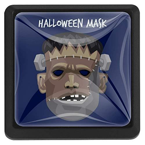 Pompoen kat gelukkig halloween vierkante lade knoppen trekken handgrepen 3 Pack gebruikt voor keuken, dressoir, deur, kast Modern design 37x25x17mm/1.45x0.98x0.66in Griezelig Frankenstein masker