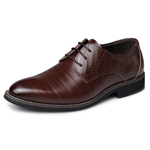 Zapatos Oxford de Cuero Calzado clásico con Cordones y Suelas pegadas Cosidas...