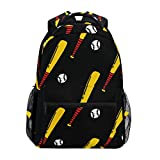 ALAZA Baseball & Bat Doodle Pattern Sports Chic Large Backpack Personalized Laptop iPad Tablet Travel School Bag with Multiple Pockets