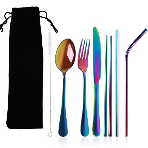 BESLIME Set de Cubiertos Juego Portátil de Cubiertos de Acero Inoxidable Incluye Cuchillo Tenedor Cuchara Palillos Cepillo de Limpieza Pajitas Bolsa Portátil Acampada Picnic Viajar,9pcs