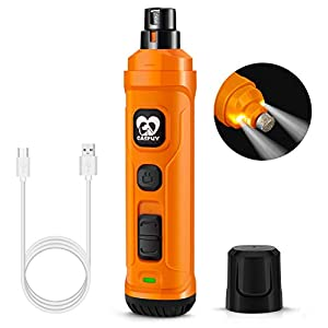 Casfuy Dog Nail Grinder with 2 LED Light – New Version 2-Speed Powerful Electric Pet Nail Trimmer Professional Quiet Painless Paws Grooming & Smoothing for Small Medium Large Dogs and Cats (Orange)