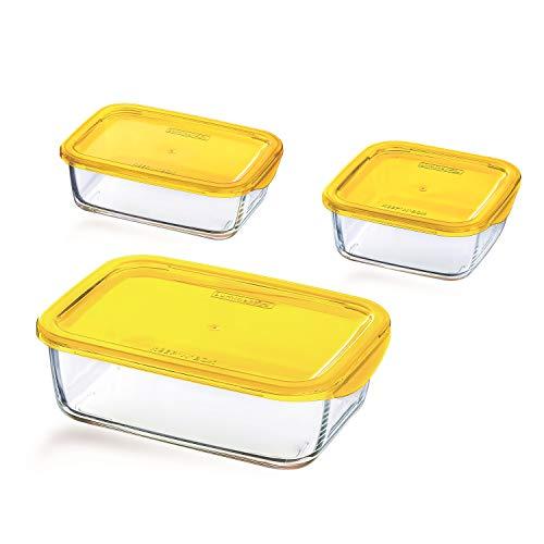 Luminarc 931467 Keep'N Box Vorratsdosen-Set, zitrone, 3-teilig (1 Set)
