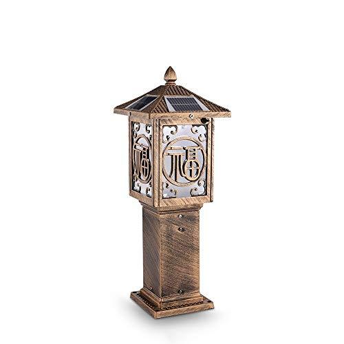KMYX Zonne LED Staande Tafellamp, Tuin Vloerlamp, Decoratieve Gazon Terras Zonne Post Lantaarn Antieke Brons Aluminium Die-Casting Voltooide Pijler Kolom Lamp