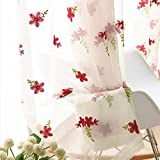 Pureaqu Sheer Curtains Red Floral Embroidered Curtains for Bedroom 63 Inches Length White Voile Rod Pocket Window Draperies Curtain Panel for Kids Girls Room/Living Room 1 Panel W52 x L63 Inch
