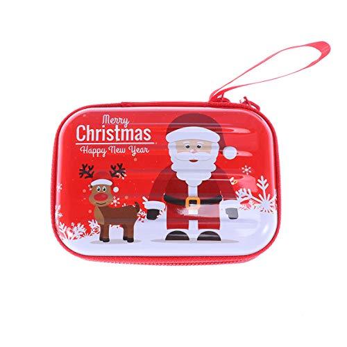 Amosfun Kerst Muntentas Opbergdoos Opbergdoos met Rits voor Oortelefoon Data Kabel Kaart Kerstmis Tas Decoratie Gift Size 1 Herten
