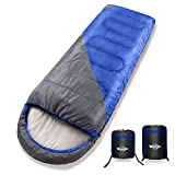 Wantdo Sleeping Bag with Hood for Cold Weather 30 Fahrenheit Indoor Outdoor Use Waterproof, Portable Lightweight Great for Camping Backpacking Hiking,Grey,Right Zip