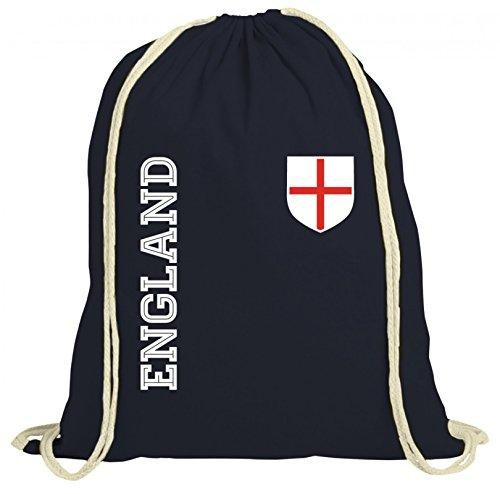Wappen Fußball WM Fanshirt Gruppen natur Turnbeutel Rucksack Gymsac Fan Trikot England, Größe: onesize,dunkelblau natur