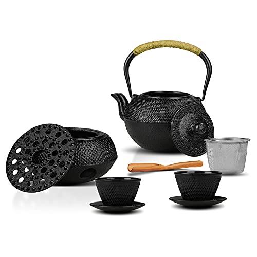 ONKERS Gusseiserne Teekanne Set 8 teilig - Teelichtofen, Sieb, 2 Guss Tassen und 2 Untersetzer